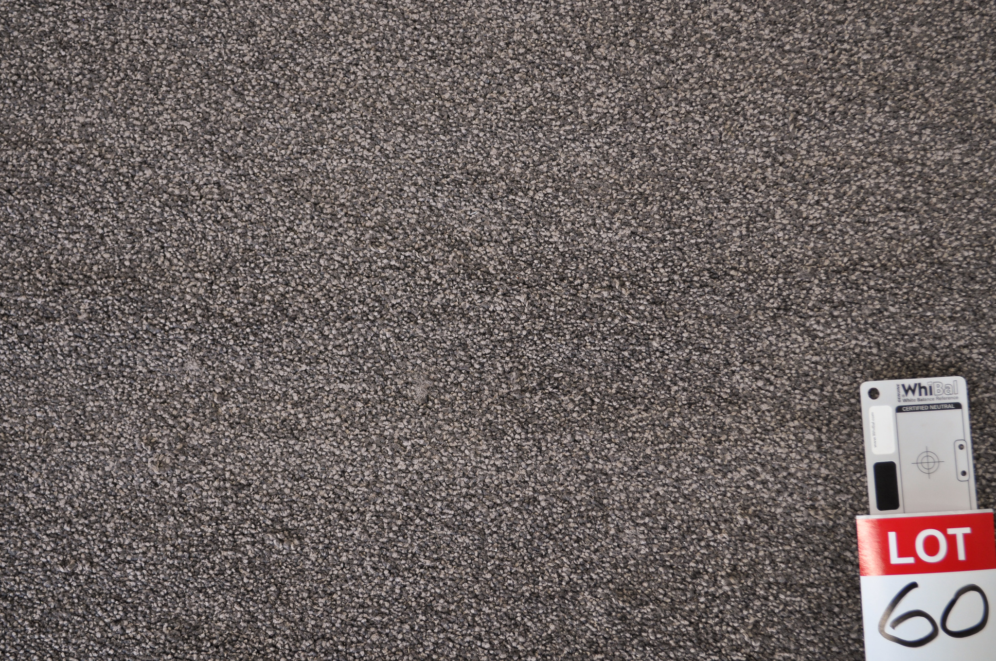 dark grey colored, nylon twist pile roll of carpet on sale at Concord Floors, it being a remnant roll in Concord Floor's warehouse.